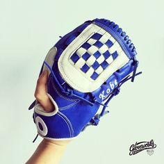 """Game Ready Glove for Youth"" Blue & White Checker Pattern in #Gloveworks Style  Glove works is your custom baseball glove maker   #Gloveworks #BringItHome #Baseball #BaseballGlove"