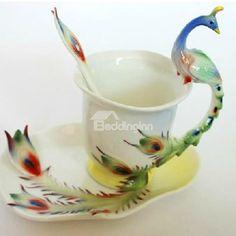 European Style Amazing Peacock Bone China Coffee Mug