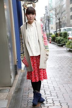 Chiemi, who works at a pet shop, is mixing prints and working the oversized trend. Meow!