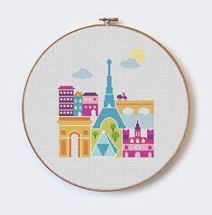 Paris modern cross stitch pattern PDF format por MilaliParade