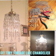 small #DIY #chandelier made from small wire basket, crystals, swag light kit.