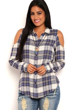 Deb Shops Long Sleeve Plaid Chambray Top with Cold Shoulders $24.00