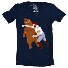 tshirt tee Man Punching Bear Men's tshirt sizes by sharpshirter, $21.00