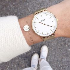 Gold news! Our La Boheme Mesh Gold/White is back in stock! #CLUSE #watch #fashion - clusewatches