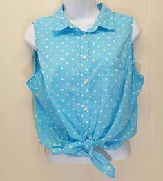 St Johns Bay LARGE Shirt Top Blouse Blue White Polka Dot Sleeveless Button Front #StJohnsBay #Blouse #Casual