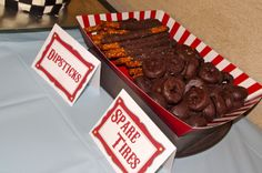 Spare tires & dipstick's - racing food for #indy500 themed party!
