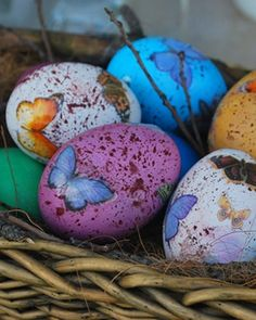 Couldn't find directions, but my thought would be to splatter paint these and decoupage the butterfly pictures onto wooden eggs.  You can use them year after year.