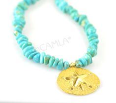 Gold Sand Dollar & Turquoise Necklace by Camla