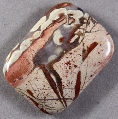 NATURAL RED RIVER LACE JASPER 40x30MM RECTANGLE FOCAL PENDANT BEAD (105)