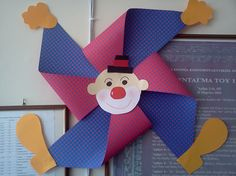 On the last patrol of Patras: Clown - fan Kids Crafts, Clown Crafts, Circus Crafts, Carnival Crafts, Kids Carnival, Circus Art, Circus Theme, Summer Crafts, Diy And Crafts