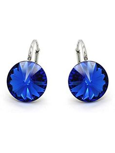 Sterling Silver 925 Made with Swarovski Crystals Royal Blue Lever Back Earrings for Women ❤ ROYAL CRYSTAL
