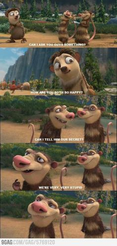 Ice Age 4. We're very, very... stupid... satisfied look. Funny Crash and Eddie moment.