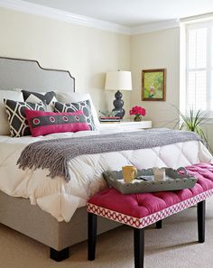 so cute. and pink. - White Luxury Bed Covers in Transitional Bedroom