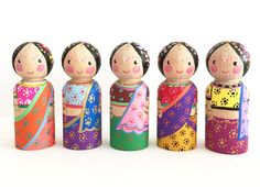 Indian inspired peg doll set of 5 size 2 3/8 inch / by PegCouture