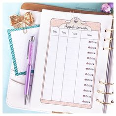 Never miss your appointment again ! Cute Planner, Study Planner, Planner Inserts, Make Time, Appointments, Productivity, How To Draw Hands, Bullet Journal, Printables