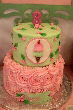 Shabby Chic Birthday Party cake! See more party planning ideas at http://CatchMyParty.com!