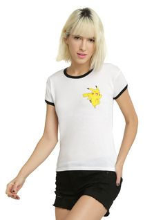 <p>Feel electric in this ringer style tee from Pokemon! The front features the adorable Pikachu and its name on the back. Ringer tee, we choose you!</p>  <ul> <li>65% polyester; 35% rayon</li> <li>Wash cold; dry low</li> <li>Imported</li> <li>Listed in junior sizes</li> </ul>