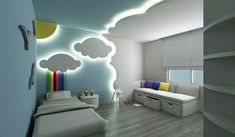 gypsum board ceiling and wall design for kids bedroom  Stretch ceilings in our country are incredibly popular. A false ceiling design for kids room made of PVC film or impregnated with a special composition of fabric stretches on a metal frame, installed around the perimeter of the room