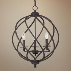 Katerina Bronze Orb Foyer Pendant Chandelier 18 Wide Rustic Farmhouse Fixture for Dining Room House Foyer Kitchen Island Entryway Bedroom Living Room - Franklin Iron Works Entryway Chandelier, Foyer Chandelier, Foyer Lighting, Chandelier In Living Room, Wooden Chandelier, Design Page, Iron Chandeliers, Foyer Decorating, Farmhouse Lighting
