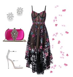 """""""🐰"""" by martsola ❤ liked on Polyvore featuring Notte by Marchesa, Badgley Mischka, Bloomingdale's, Giuseppe Zanotti, Pink, dress and event"""