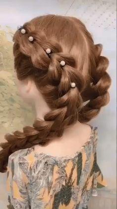 Easy Hairstyles For Long Hair, Creative Hairstyles, Braids For Long Hair, Girl Hairstyles, Wedding Hairstyles, Step Hairstyle, Hairstyle Tutorials, Box Braids, Hairstyles Videos