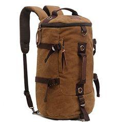 Large Capacity Men's Travel Bag / Mountain Backpack / Hiking Camping Backpack / Gym Bag / Laptop backpack / Shoulder Bag / Retro Canvas Weekend Travel Duffel Bag (Cardboard Brown)
