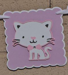 Kitty Cat Birthday Banner. Lilac. Pink by StudioDris on Etsy