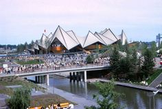 A view of the Ontario province pavilion during Expo '67 Summer 1967 Montreal, Quebec