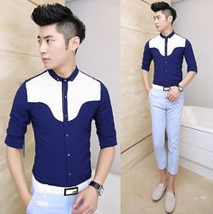 Free Shipping 2014 Brand New Colourblock Fashion Mens Shirts High Quality Slim Fit Stylish Shirts   $24.88
