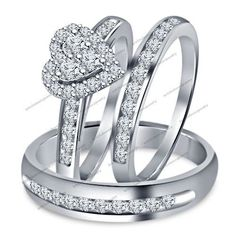 14K White Gold Diamond Heart Engagement Ring Wedding Trio Set For His And Her #br925silverczjewelry