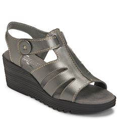 f65d6b80806 Shopping Bog Leather Wedge Button Sandal in silver leather