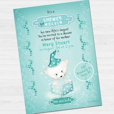 Shower Party Invitation with name & thank you by babyartshop Baby Polar Bears, Youre Invited, Shower Party, Thank You Cards, Party Invitations, Cute Babies, Clip Art, Names, Messages