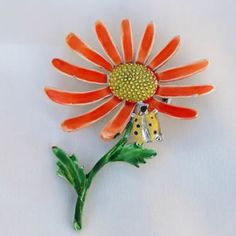 Daisy Flower with Lady Bug Brooch Pin