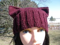 Burgundy Pussy Cat Hat, Knit Pussy Hat, Adult hat, Knit Cat Hat, Handknit Beanie , Cotton Hand knit Hat by NorthStarAlpacas on Etsy
