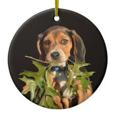 #Playful Beagle Puppy With Leaves Ceramic Ornament - #beagle #puppy #beagles #dog #dogs #pet #pets