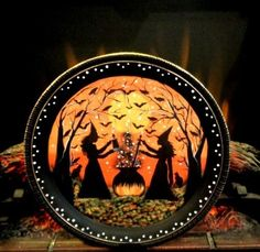 HALLOWEEN SILVER PLATE BATS BLACK CATS WITCHES SERVING TRAY