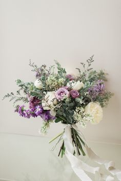 A gorgeous organic garden-inspired bouquet featuring lavender stock lavender spray roses lavender limonium white peony white lilac and pearl acacia Photo Allie Siarto Co Photography White Peonies Bouquet, Lavender Bouquet, Purple Wedding Bouquets, Lilac Wedding, White Wedding Flowers, Bridal Flowers, Flower Bouquet Wedding, Floral Wedding, Lilac Bridesmaid