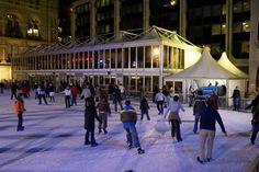 Auch eine gern gebuchte Kombination: Unsere Doppelstockhalle zur Eisbahn draußen.