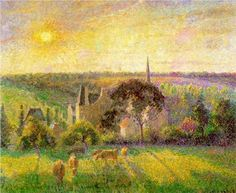 The Church and Farm of Eragny - Camille Pissarro