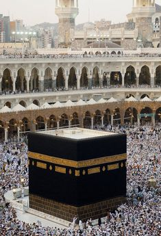 The Kaaba also known as al-Ka?bah l-Mušarrafah al-Baytu l-?q or al-Baytu l-?m is a cuboid building in Mecca Saudi Arabia and is the most sacred site in Islam. The building has a mosque built around it the Masjid al-Haram. Masjid Al Haram, Mecca Masjid, Travel To Saudi Arabia, Mecca Wallpaper, Islamic Wallpaper, Mekkah, Beautiful Mosques, Beautiful Sites, Islamic Architecture