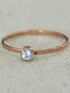 Dainty Copper CZ Diamond Ring Hammered Copper CZ Diamond Jewelry CZ Diamond Mothers Ring Aprils Birthstone Copper Jewelry Pure Copper by Alaridesign Copper Jewelry, Fine Jewelry, Jewellery, Simple Jewelry, Glass Jewelry, Jewelry Making, Just In Case, Just For You, Measure Ring Size