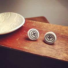 Cute as a button round porcelain stud earrings by TenaciousBloom, £16.00