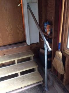 Wheelchair Ramp Kits >> The garage steps leading into the house need a small handrail. Build out of sanded redwood, this ...