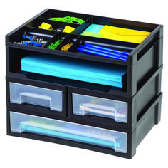 This Desk Top Organizer is a great solution for keeping your desktop neat and organized! Store your papers, pens and other office items all in this one unit. Desk Storage, Office Storage, Cube Storage, Storage Spaces, Home Office Organization, Desktop Organization, Craft Organization, Desktop Drawers, Cube Organizer