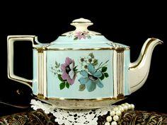 Large Blue Sadler Teapot, 6 Cup Blue Wash Porcelain English