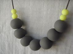 Polymer clay necklace charcoal with fluoro by AllsKnotForgotten, $30.00