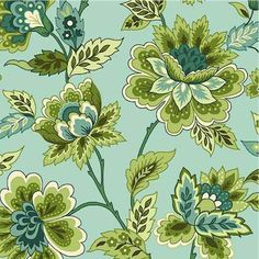 Jacobean Floral fabric in teal blue colorway, designed by Michele D Amore for Marcus Brothers Fabrics, as part of the Bleeker Street collection