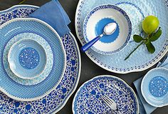 Durable dinnerware in blue and white, yes please!