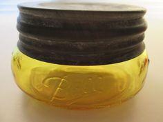 Golden yellow Ball Mason Widemouth Squatty Half Pint Fruit Jar Vtg Zinc Lid   eBay