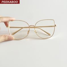 Peekaboo new sexy big cat eye glasses frames for women brand black silver gold clear fashion glasses cat eye metal frame